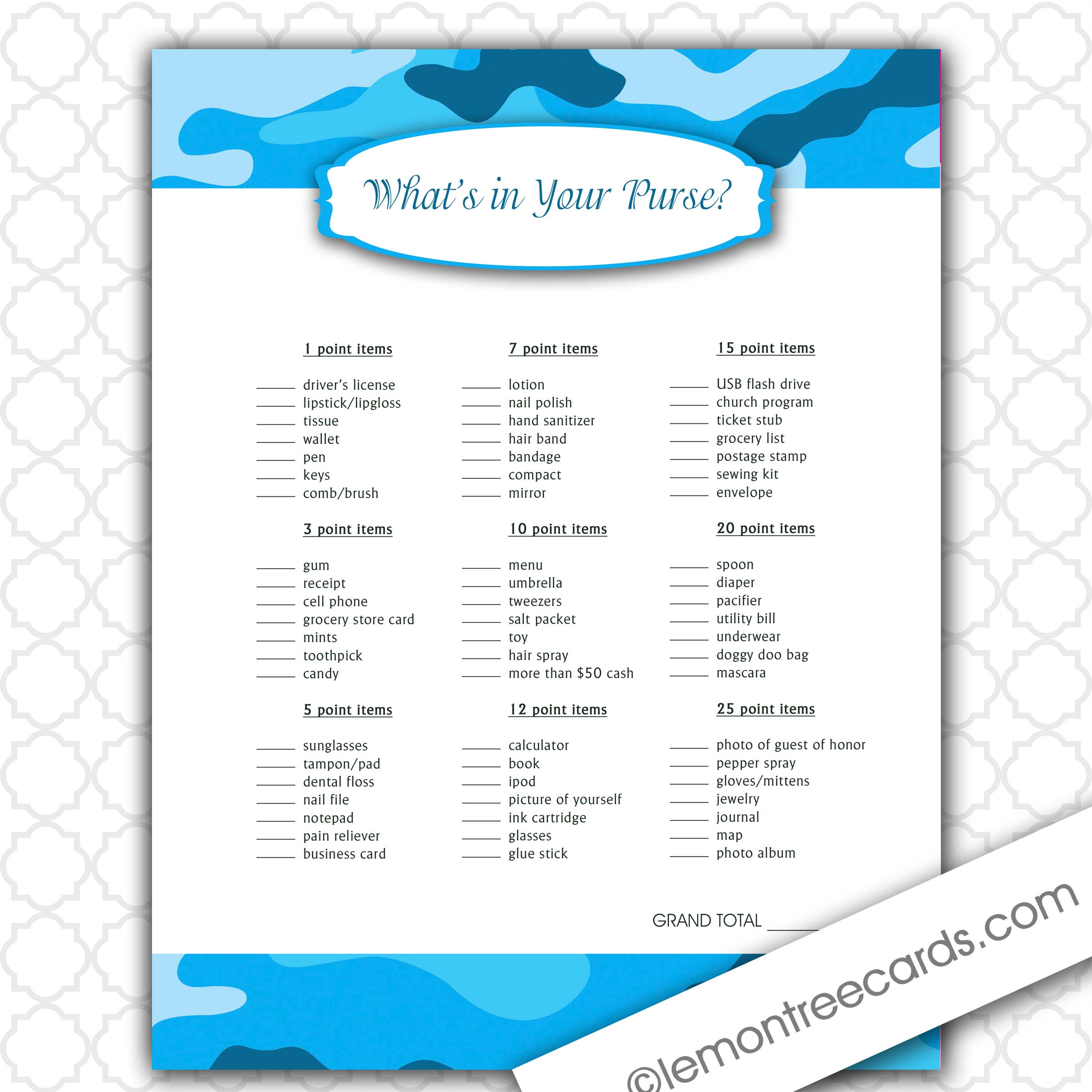 ... Your Purse Bridal Shower Game Free Printable What's in your purse game