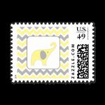 stamp yellow gray