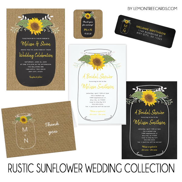 Rustic Sunflower Wedding Collection Lemon Tree Cards